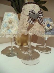 Copas de vino decoradas con tela