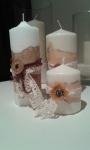Velas decoradas con cintas y decoupage