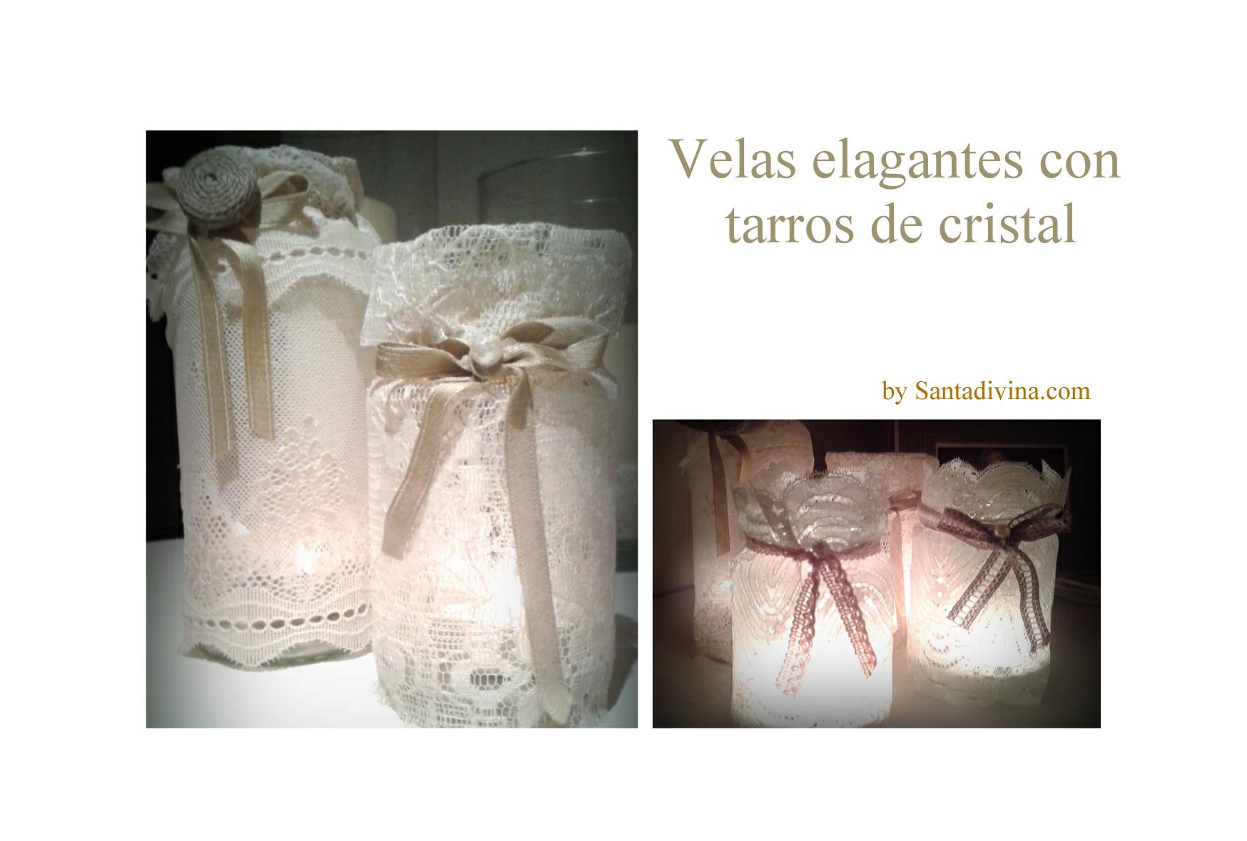 Portavelas con tarros de cristal santadivina - Portavelas cristal ...